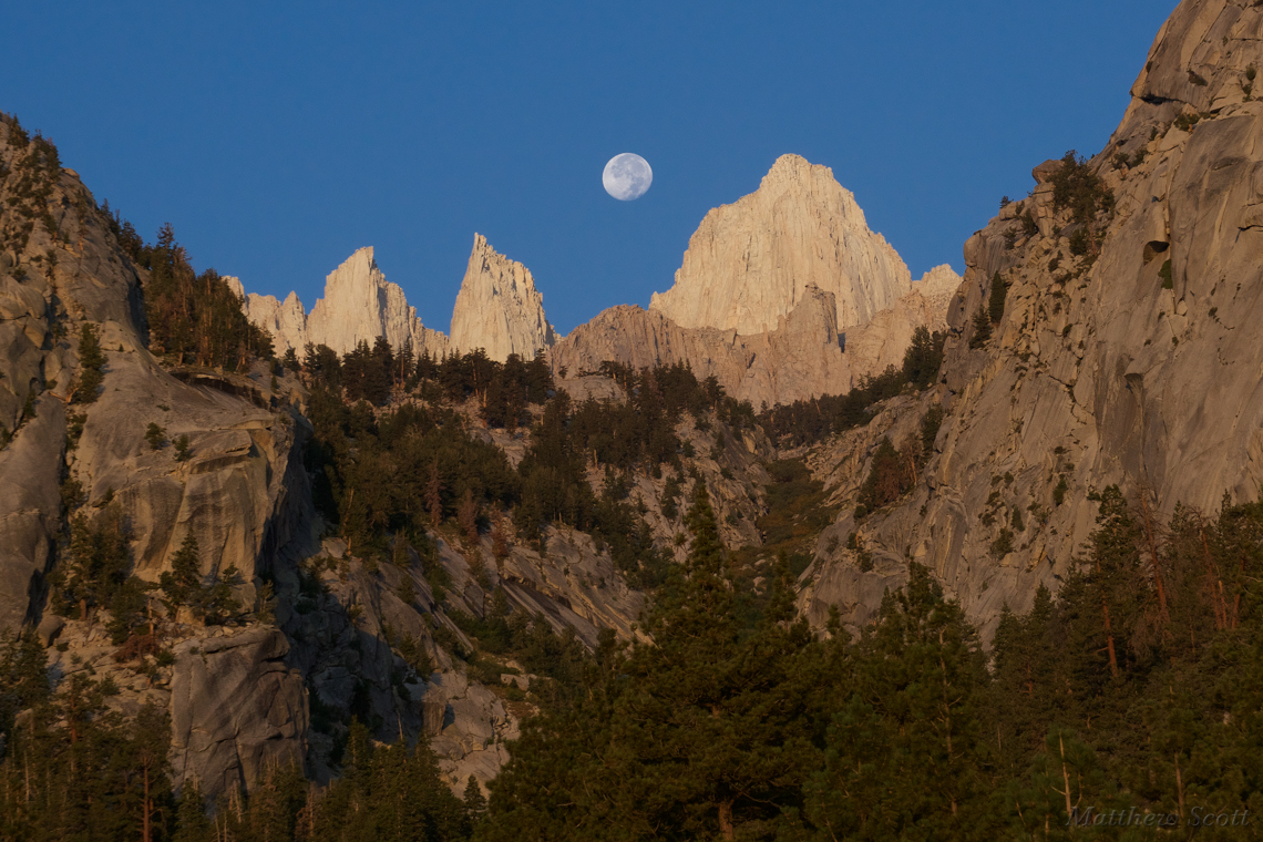 Moonset at Mt. Whitney, Sierra Nevada
