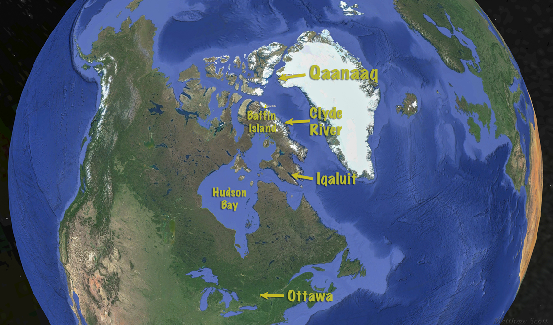 Google Earth view of route of travel:  Ottawa to Iqaluit to Clyde River to Qaanaaq (77 deg N)